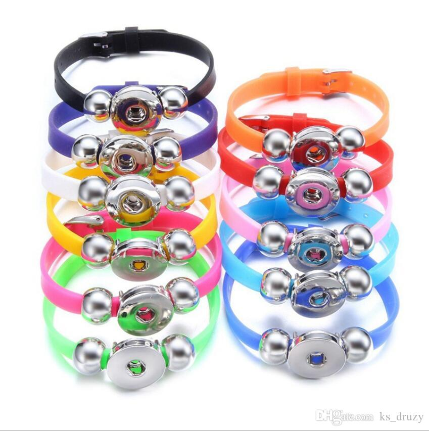 Noosa Snap Bracelet Jewelry CandY Color Plastic Silicone Strand Snap Charm Wristband fit DIY 18mm Snaps Jewelry