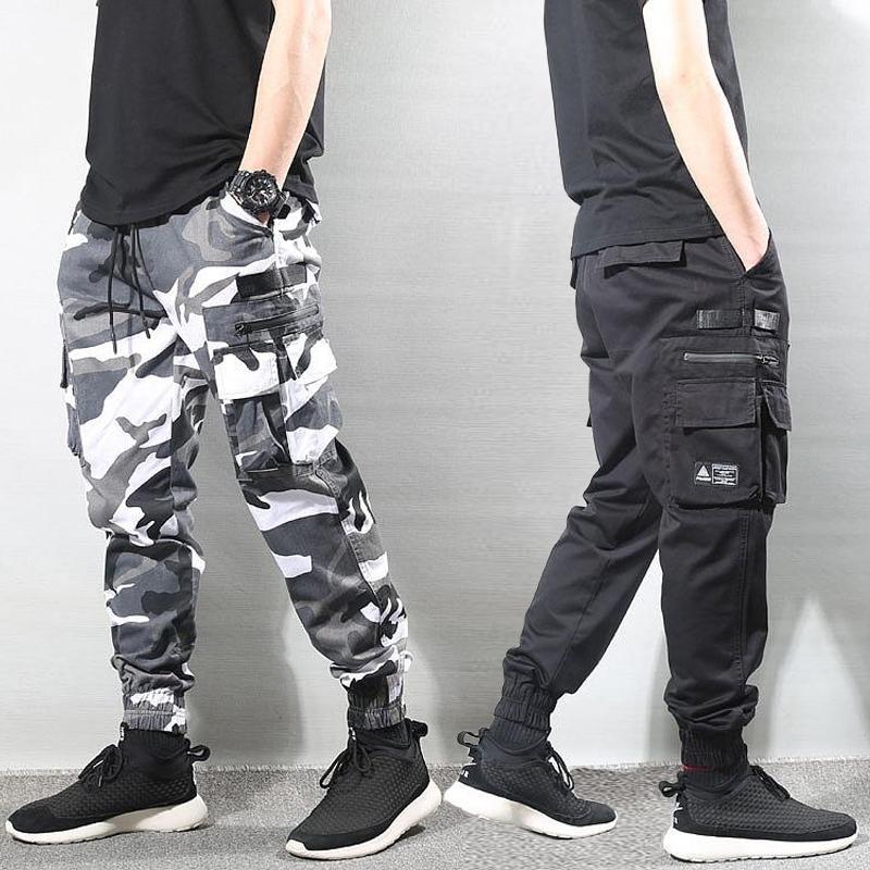 Fashion Streetwear Men Jeans Loose Multi Pockets Cargo Pants Camouflage Trousers Slack Bottom Hip Hop Joggers Pants Men