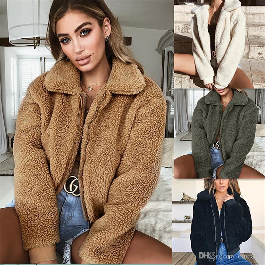 Las mujeres abrigos de invierno del otoño y del invierno caliente de la chaqueta de terciopelo Cordero pelo Escudo de 6 colores de gran tamaño para mujer Ropa S-3XL Grueso