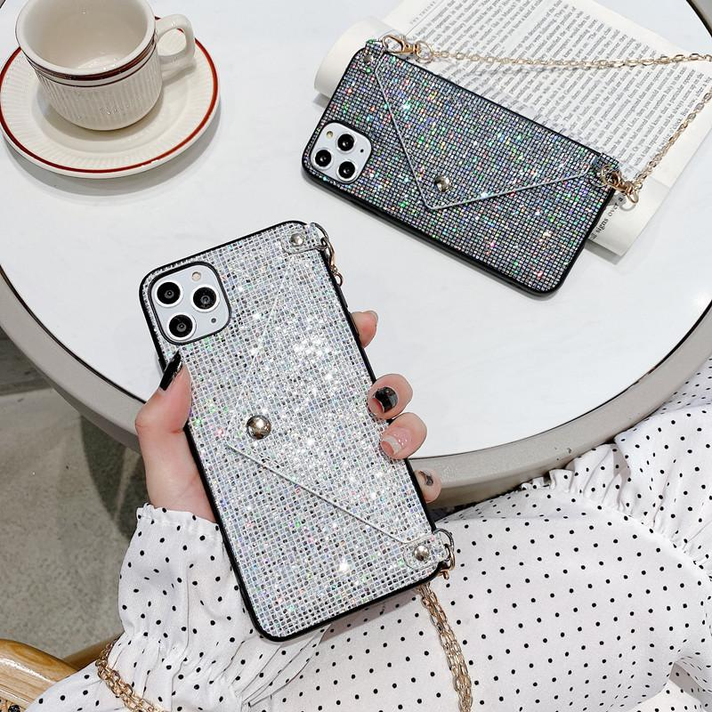 Fashion Lanyard Wallet Phone Case For iPhone 11 Pro XS MAX XR X 7 8 Plus Glitter Bling Sequins Crossbody Chain Bag Cover