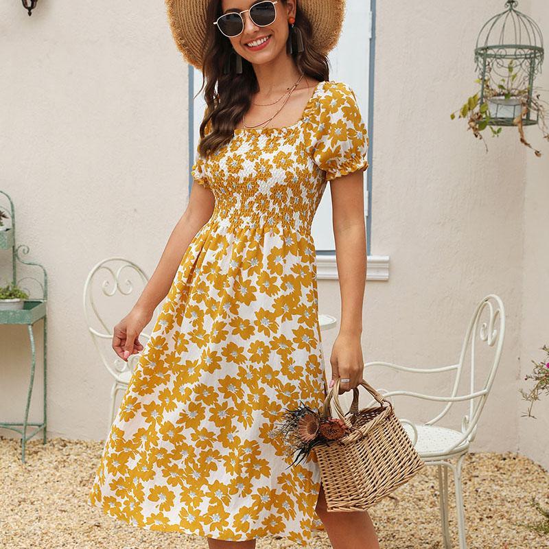 Femmes Summer Beach Fashion Robe Boho Maxi longues robes pour femmes élégantes Encolure Vintage Imprimer Sexy