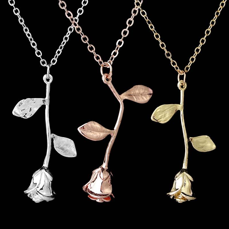Wholesale Beauty Flower Rose Necklace Silver Rose Gold Pendants Chain The Beast Fashion Jewelry For Women Valentines Day Gift Small Pendant Necklace Personalized Pendant Necklace From Zhougb 0 92 Dhgate Com