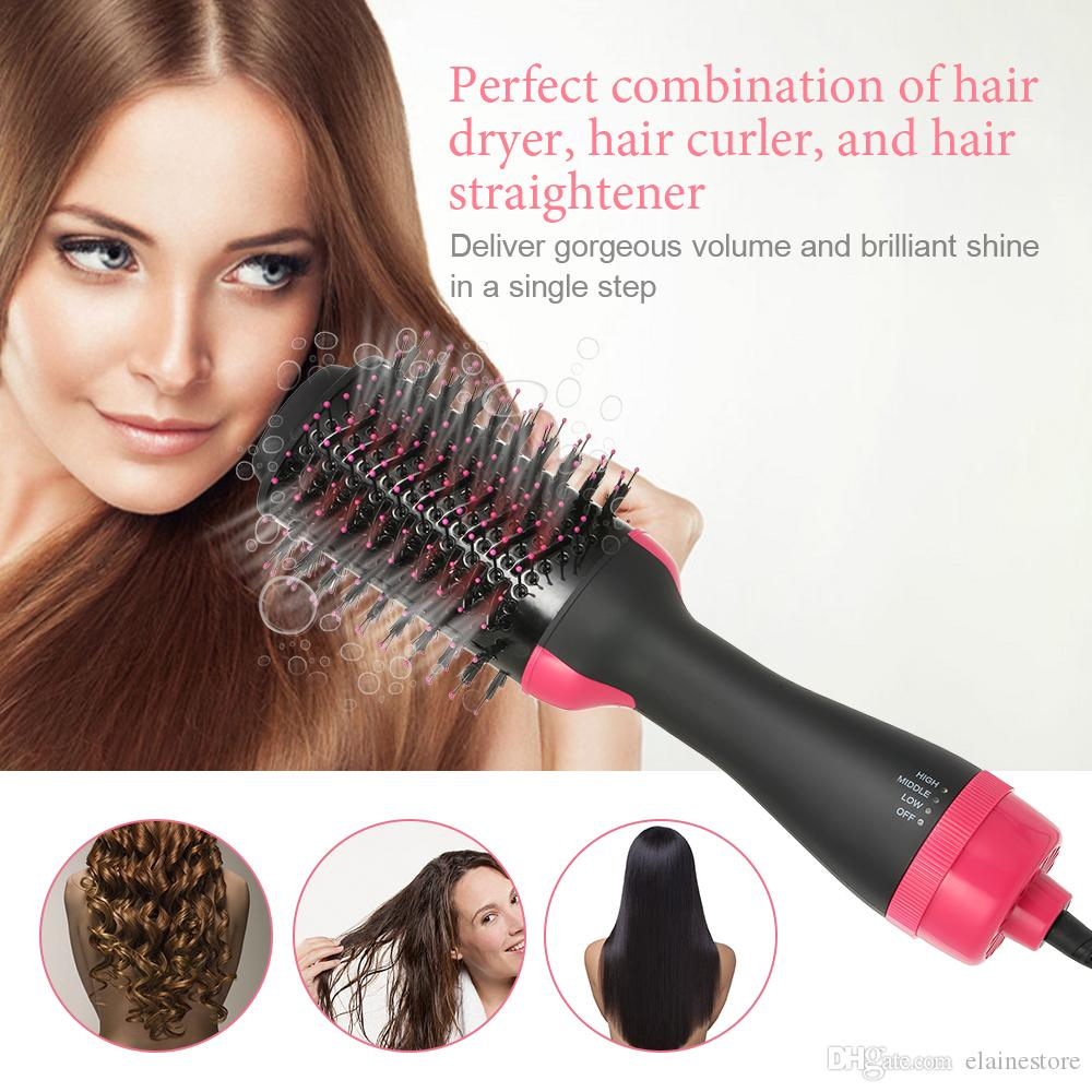 2in1 Negative Ions Hair Dryer Curler Straightener Hair Curler Comb Electric Hot Air Paddle Styling Brush Iron EU US UK plug