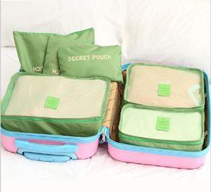 50 sets Doppelreißverschluss Wasserdichte Reisetaschen Männer Frauen Nylon Gepäck Verpackung Cube Tasche Unterwäsche Bh Aufbewahrungstasche Organizer 6 stücke set