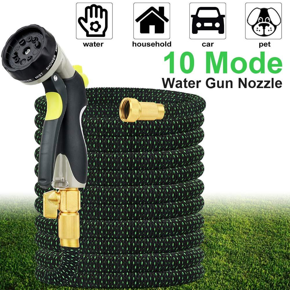 50 Feet Expandable Garden Hose with 10-Way Spray Nozzle and 3/4 inch Solid Brass Fittings for Lawn Watering and Car Washing