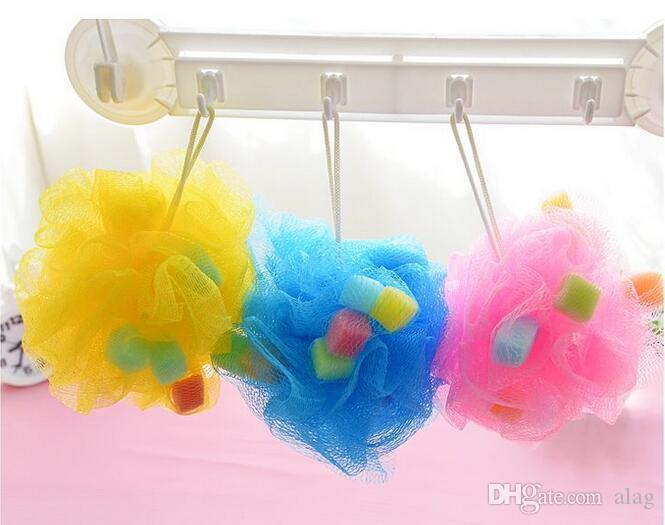 free shipping Bath Shower Body Exfoliate Puff Sponge Mesh Net Ball sponge Bath ball Scrubbers DDG2