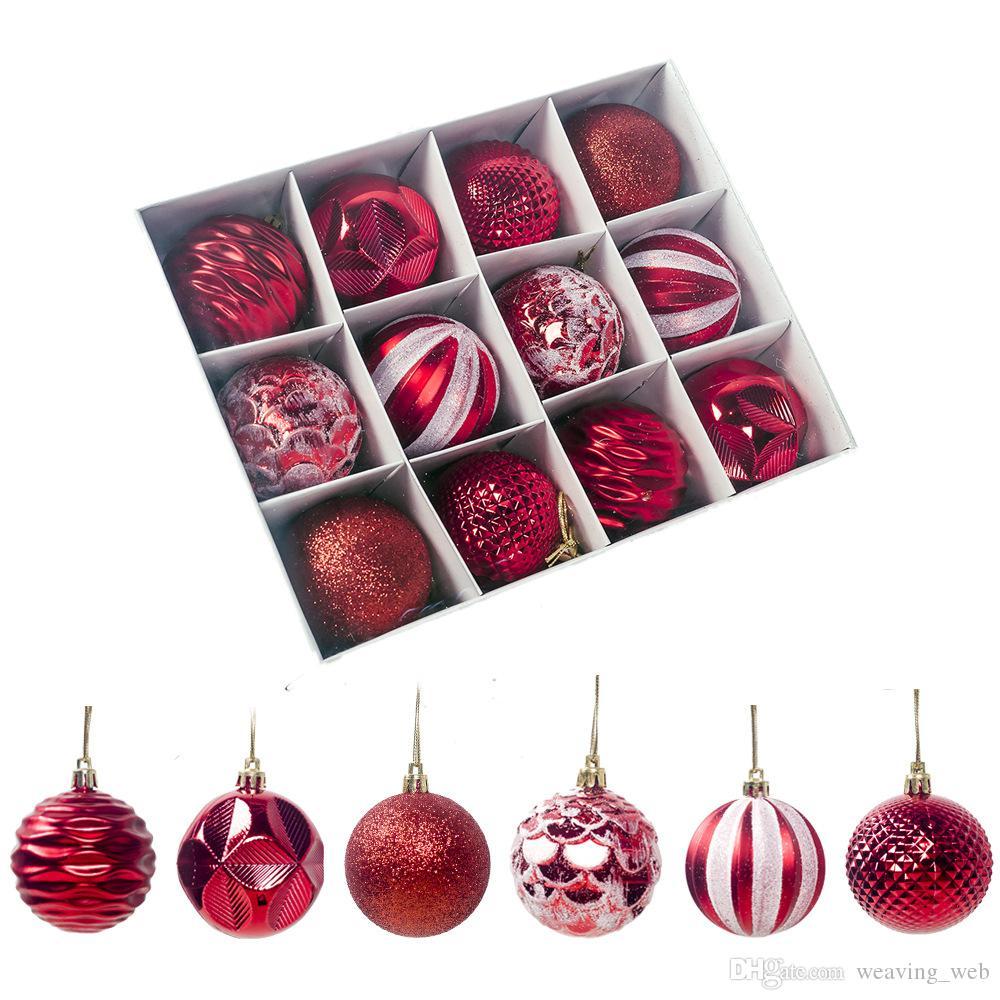 6 STYLE !! كرات عيد الميلاد الحلي لعيد الميلاد شجرة شاتيربروف زينة شجرة عيد الميلاد الحلي البلاستيكية لحضور حفل زفاف