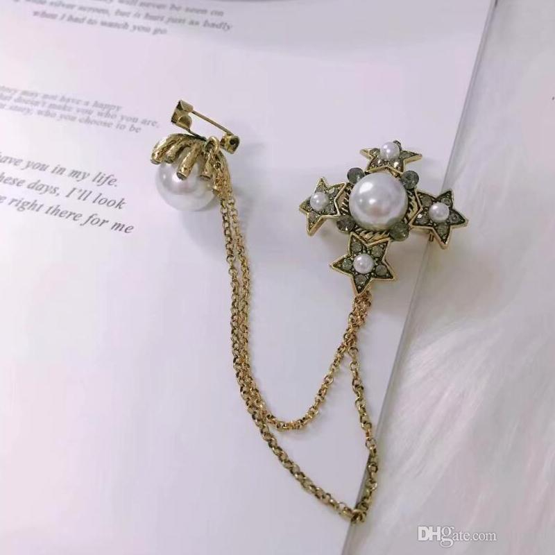 Nueva llegada de cristal creativo manera de la cadena Creative Design pernos de las broches broche del Rhinestone de los regalos de joyería pin del vestir joyería