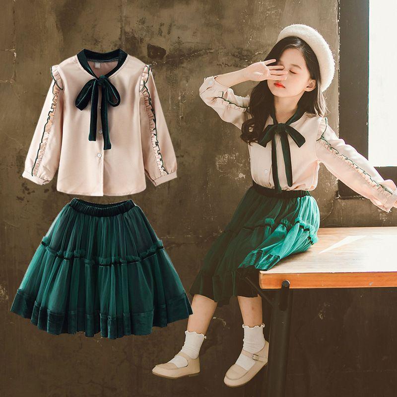 Mode Baby-Kleidung Frühling Big Girls Kleidung Set Outfits mit Rüschen Langarm-Bogen-Hemd Tops + Tutu Röcke Kleidung stellt 2020 T200413