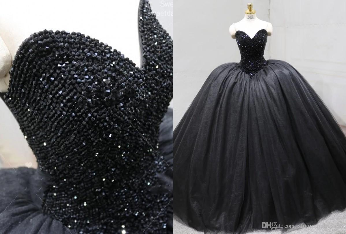 Sexy Black Ball Gown Cheap Quinceanera Prom dresses Sweetheart Real Photo Tulle Ruched Corset Back Crystal Sweet 16 Dress Vastidos De Dress
