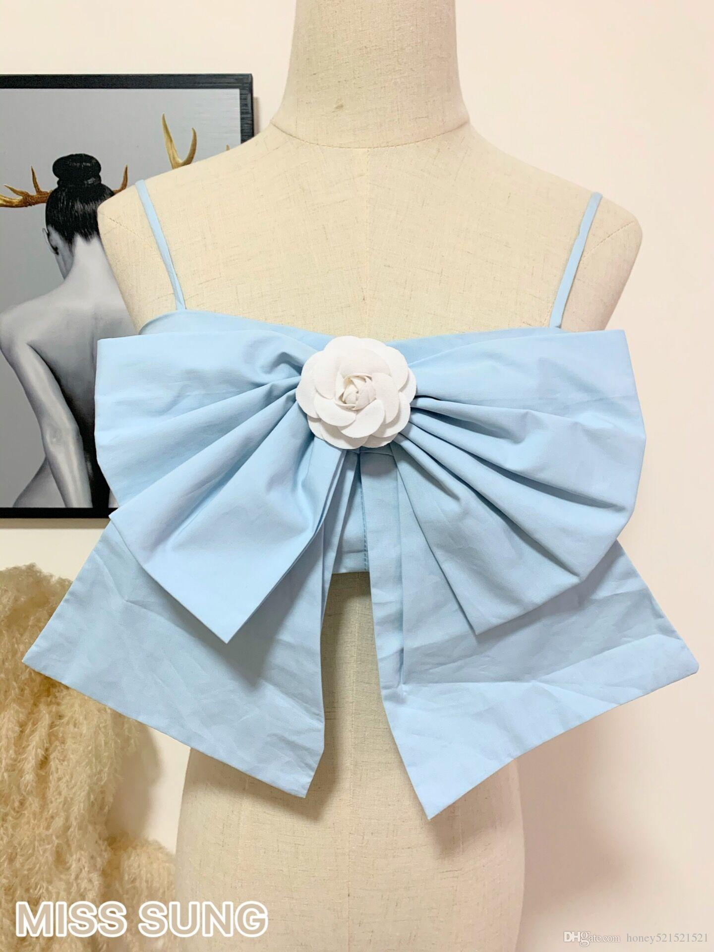 2020 Nuove Donne Design Moda Design Spaghetti Strap Short Up-Navel Style Vita alta Big Bow Flower Pin Patchwork Tank Top Vest Camisole SML