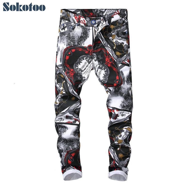 Sokotoo Erkek moda 3D model dar kesim düz kot Trendy siyah beyaz renkli çizim streyç pantolon CJ191130 baskılı