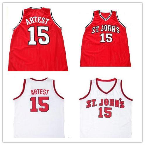 NCAA basket Hommes Ron Artest Université St. Johns Redmen College Throwback Basketball Cousu Collège Maillots De Basket taille S-5XL
