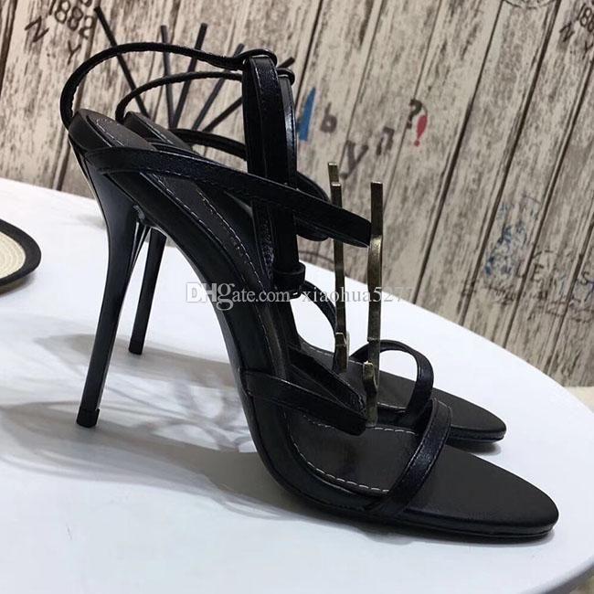 Moda y calidad Zapatillas de tacón alto clásicas para mujer 2019 Sandalias de tacón alto de Lady Party con correa en T de charol con gules negros y blancos