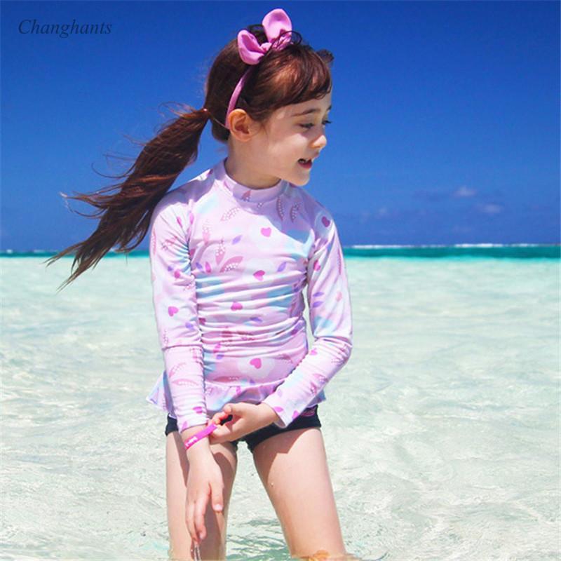 New Model 2-13 Y Girl Long Sleeve Rash Guard Child Two Piece Swimwear Pink and Blue Flower Swimsuit Girls Bathing Suit Rashguard