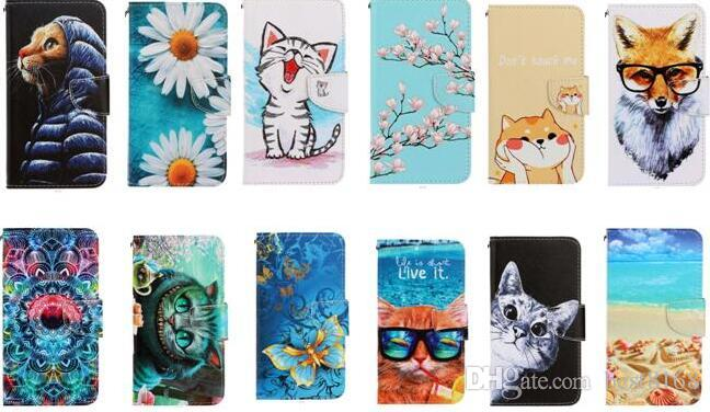 Pour Samsung Note 10 Pro S10 A10 A20 A40 A50 A70 A20E Portefeuille en cuir Chat Chouette Fleur mer Papillon Loup océan carte Cartoon Porte-Covers