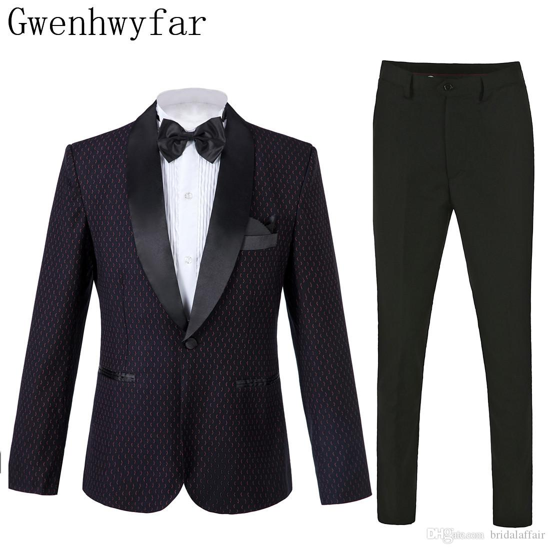 2019 на заказ темно-фиолетовый прекрасный узор шаль отворотом мужской костюм набор формальных свадебный выпускной смокинг 2 шт костюм