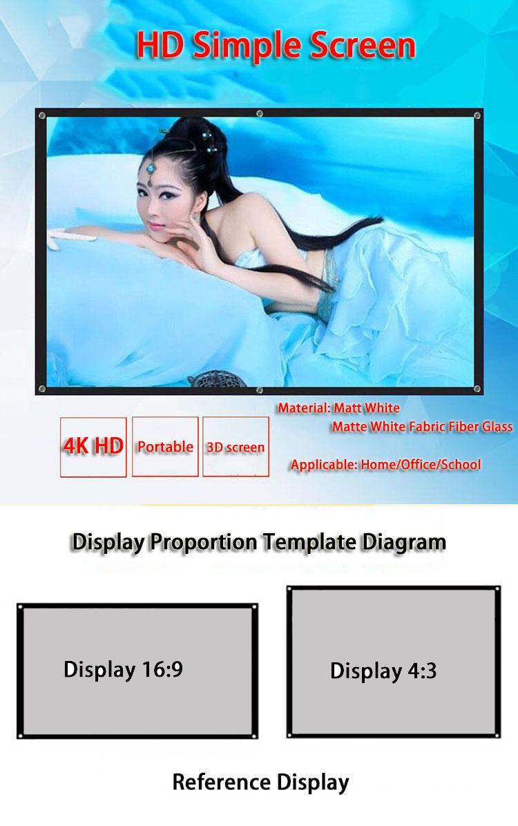 Pantalla de proyección portátil 16: 9 de 100 pulgadas plegable blanca LED Pantallas de Proyección Para montado en la pared Películas de cine en casa