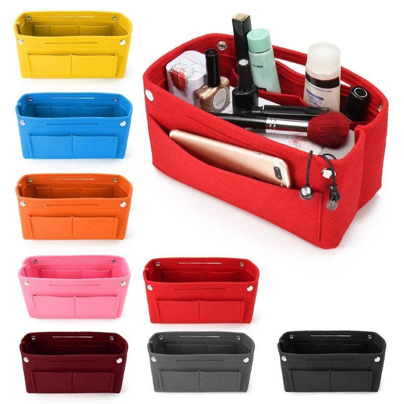 THINKTHENDO 1PC Multifunction bolsa Cosmetic Organizer Bolsa Inserir saco de feltro Tecido Bolsa de armazenamento