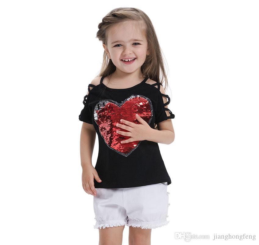 T-shirt estate ragazze cotone moda con paillettes scolorimento bambini vestiti ragazza magliette maniche corte magliette bambini Tops
