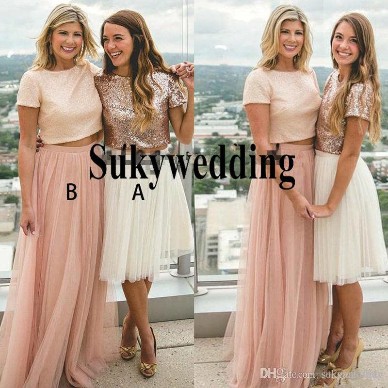 Rose Gold Sequins Bridesmaid Dresses Dusty Pink Tulle Two Piece Prom Party Gowns For Country Wedding Jewel Maid of Bride Gowns Floor Length
