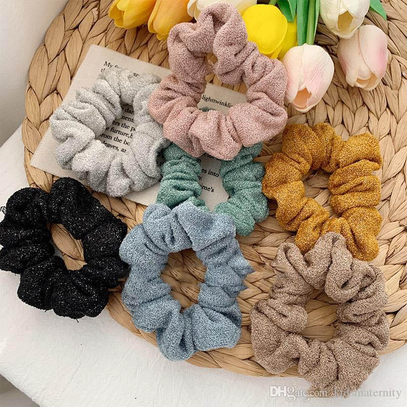 7Color Women Girls Solid color Winter Thick Elastic Ring Hair Ties Accessories Ponytail Holder Hairband Rubber Band Scrunchies Shinning