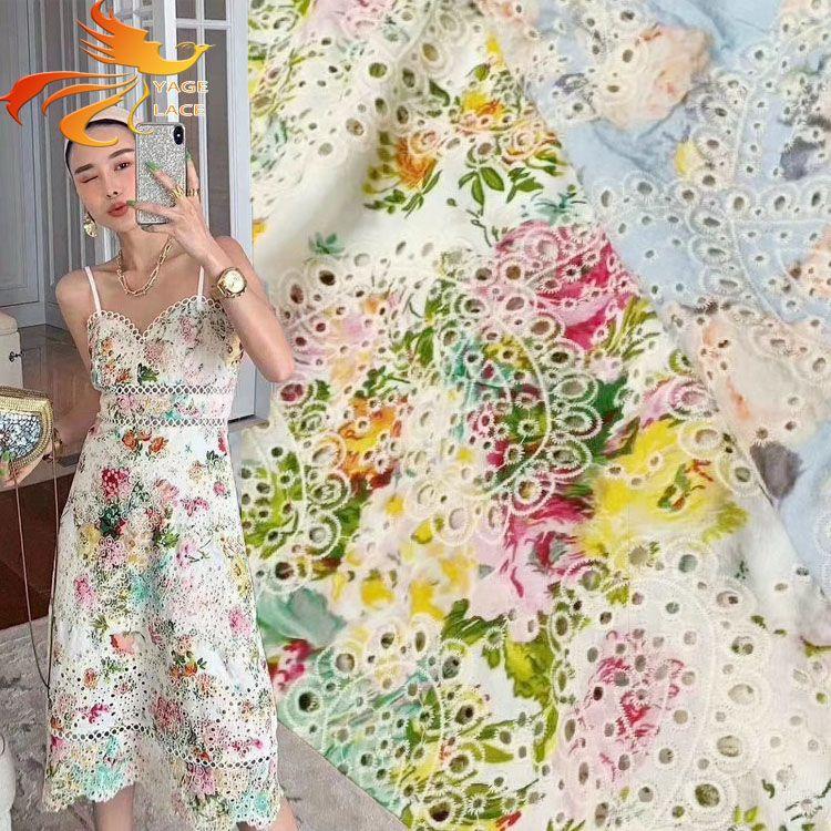 diseño de impresión diferente con hueco ritmo de tela de algodón bordado, encaje de vestir prendas de moda / causales