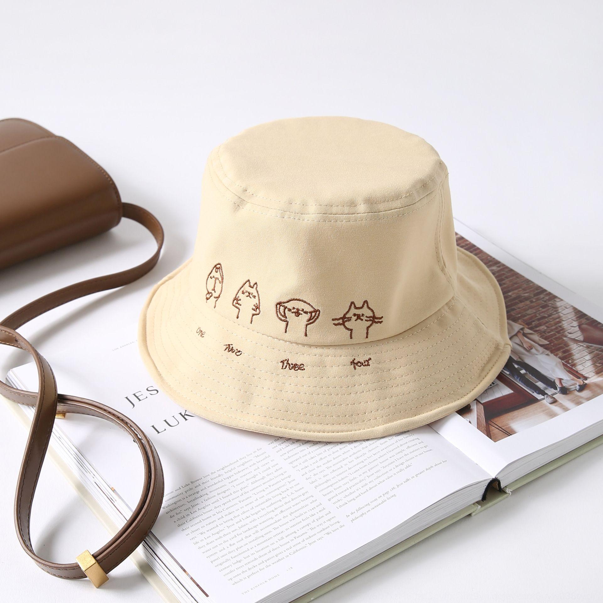 ins Balde para bordado moderno chapéu de sol chapéu bonito feminino pescador pescador bordados gato bacia filtro solar