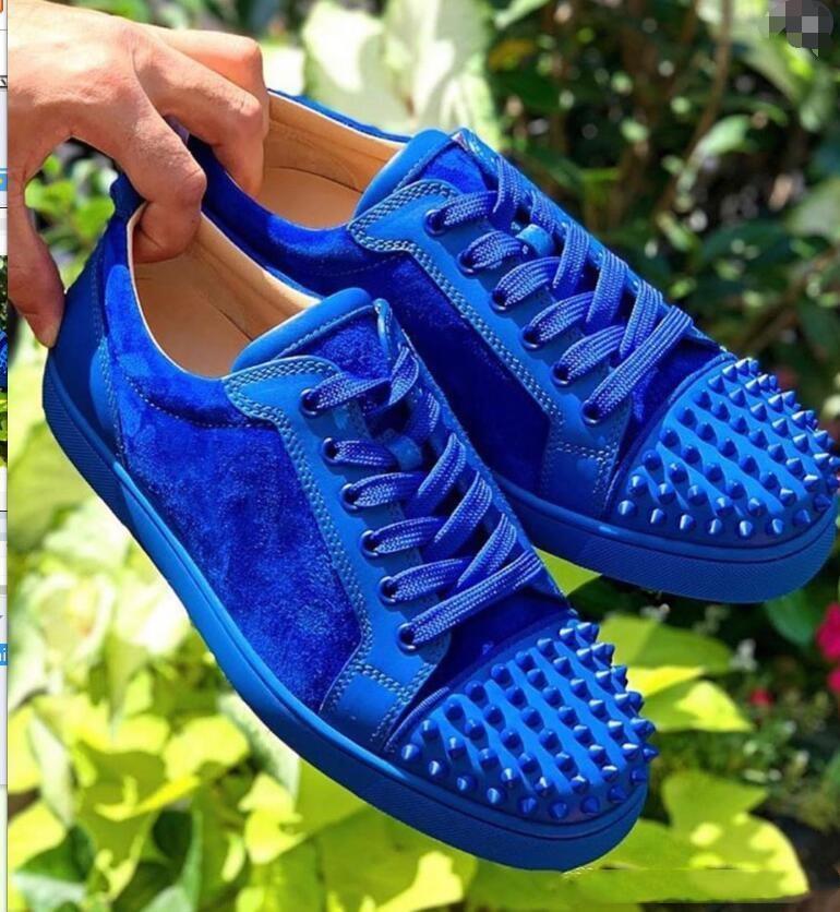 مصمم أحذية رياضية الأحمر الحذاء أسفل أدنى قطعة الأزرق الجلد المدبوغ مع أحذية ارتفاع فاخرة للرجال والنساء أحذية حفل زفاف أحذية جلدية الكريستال