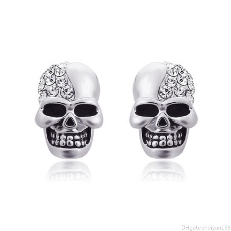 Punk Skull Orecchini di cristallo del Rhinestone per le donne dell'annata degli uomini di scheletro Coppia orecchini di Hip Hop Orecchini in monili di Halloween Gifts