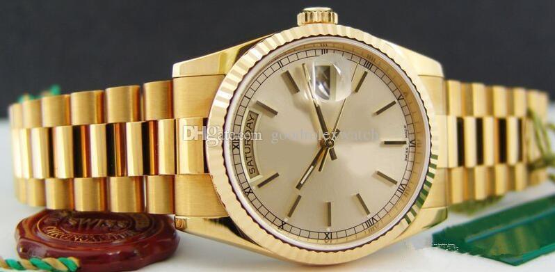 공장 공급 사치 럭셔리 사파이어 자동 36mm 기계식 18kt GOLD 데이 데이트 PRESIDENT 118238 Mens Watch Watch