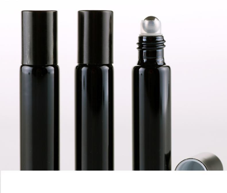 10ml ROLL ON GLASS frasco de perfume Black Gold prata Fragrances ÓLEO ESSENCIAL Frascos Com Metal Ball rolo frete grátis