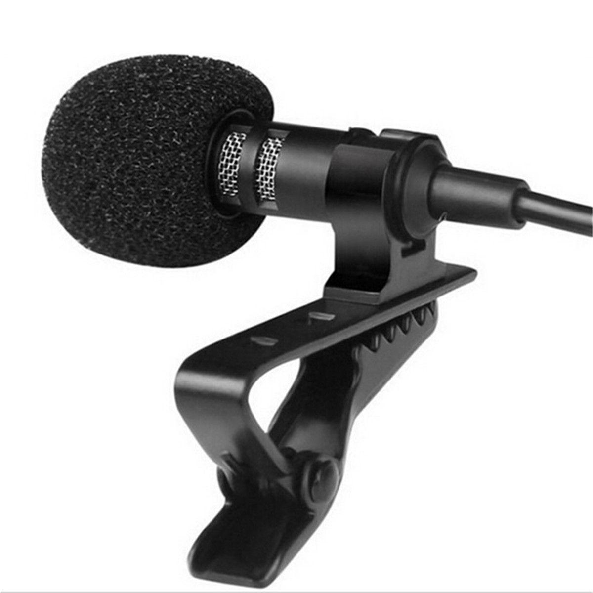(Stock) iphone Samsung Smartphone için Taşınabilir Clip-Yaka Boyun Mikrofonu 3.5mm Jack Hands-free Mini Kablolu Kondenser Mikrofon
