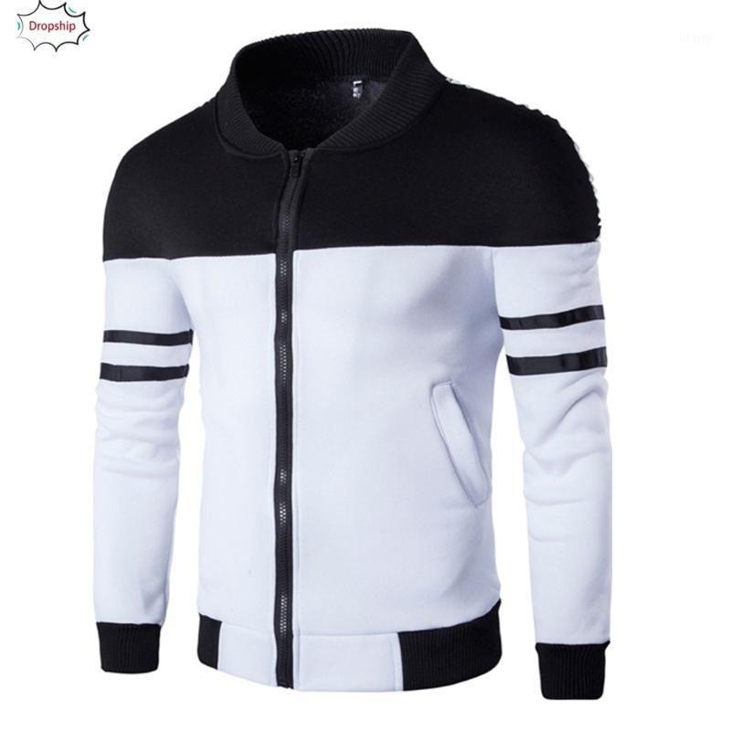Erkek Ceketler 2021 FashionCasualdaily Sonbahar Kış Fermuar Spor Patchwork Ceket Uzun Kollu Ceket Dropshiping 18NOV211