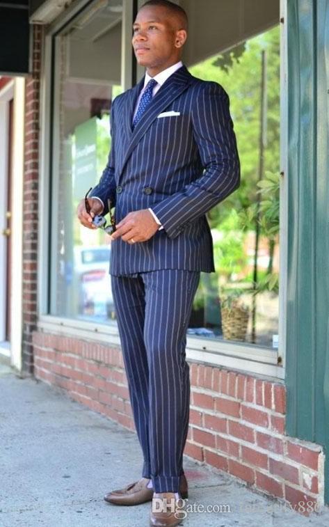 Mode-blauer Streifen Bräutigam Smoking Excellent zweireihigen Männer Groomsmen Weding Smoking Blazer Männer formale Partei-Abschlussball-Anzug (Jacket + Pants + Tie)
