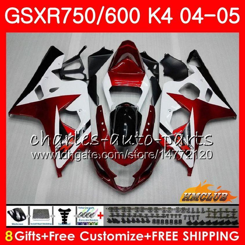 KIT POUR SUZUKI GSX R600 R750 GSXR600 GSX-R750 GSXR 600 750 04 05 7HC.26 GSXR-750 GSXR750 K4 GSXR-600 04 05 2004 2005 Carécage blanc rouge foncé