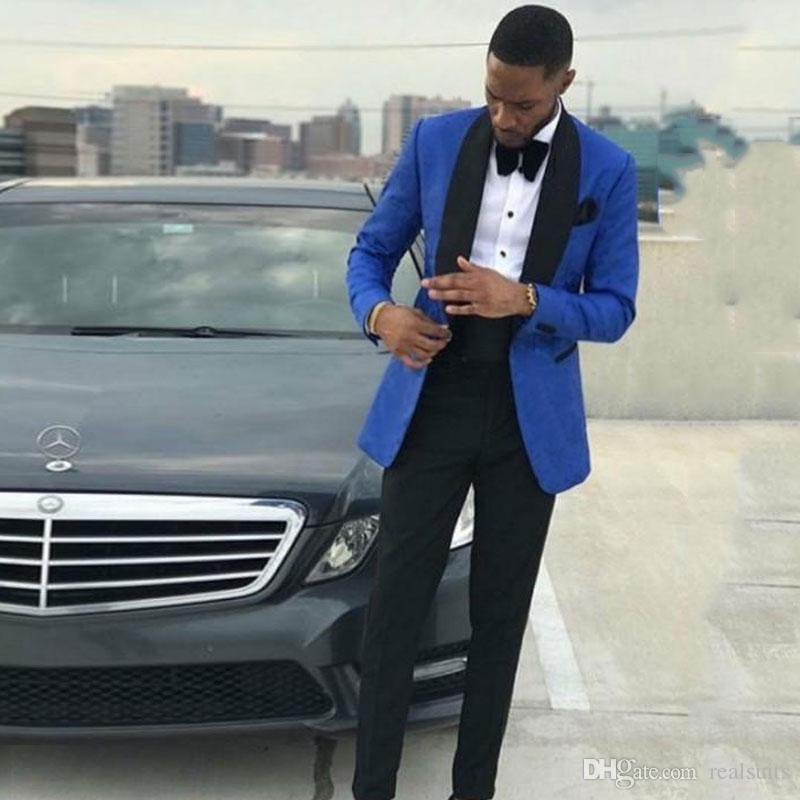 Latest Design Royal Blue Groom Tuxedo Men Blazers Best Men Suits for Wedding Black Shawl Lapel Slim Fit Costume Homme 2Piece Terno Masculino