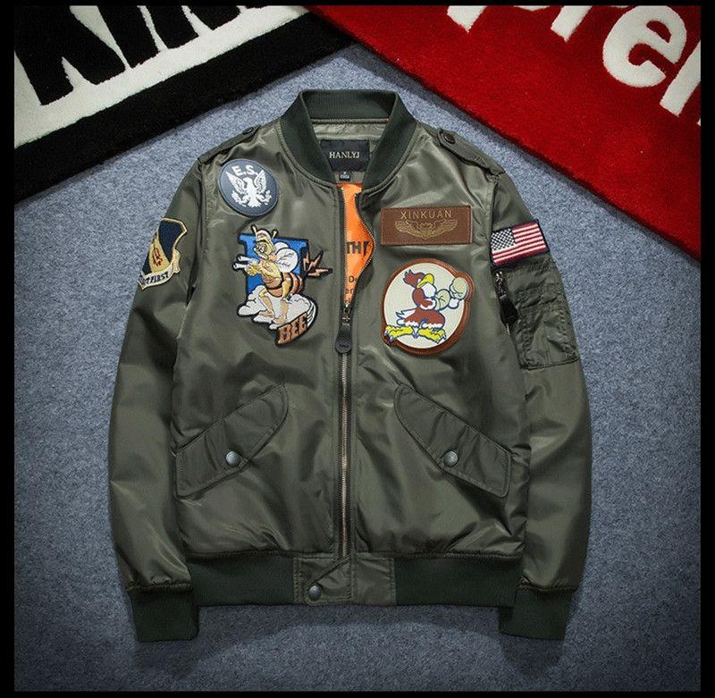 Brand New NASA Flight Pilot Mens Designer Giacche MA-1 Bomber Giacca a vento Ricamo giacca sportiva all'aperto Mens Top M-XXXL