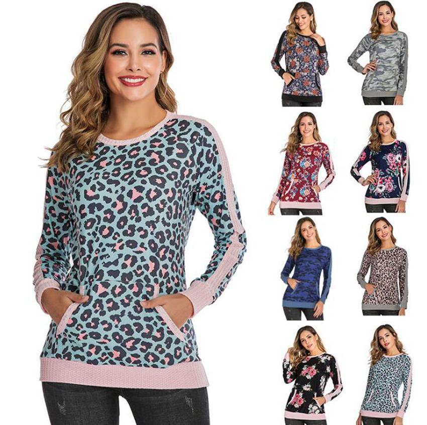 Leopardo remiendo sudadera con 8 mujeres de los colores de manga larga suéter otoño las tapas ocasionales de la camiseta de la camisa con capucha Streetwear LJJO7131