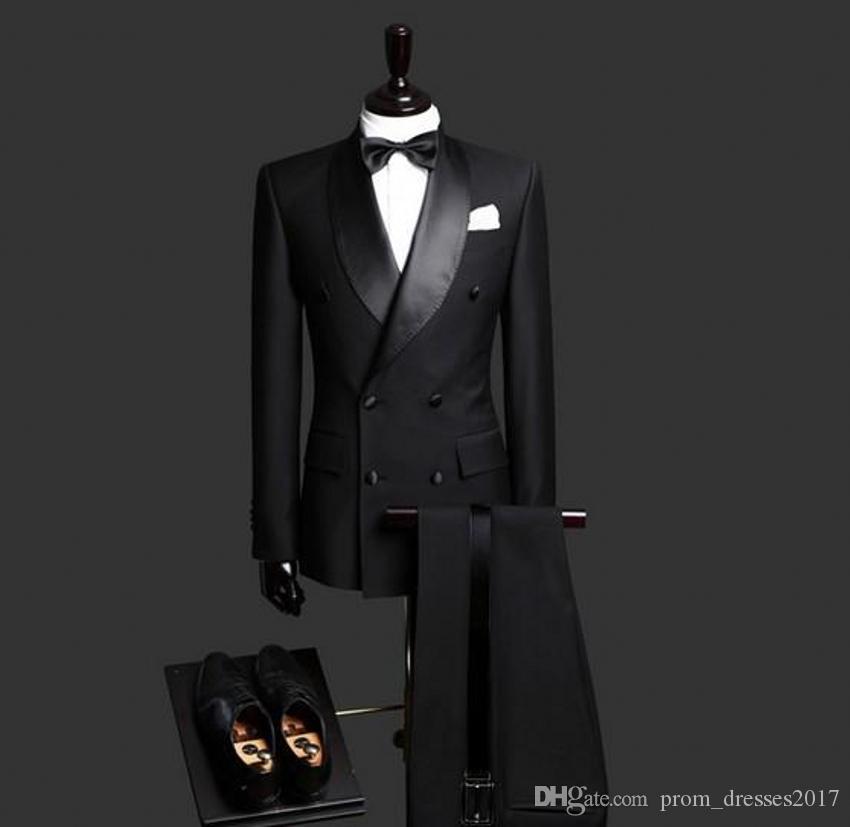 2020 Trajes para hombre Negro por encargo del novio de los smokinges del mantón de la solapa Slim Fit Esposo Formal Wear Mejor Traje para hombre para las bodas (chaqueta + pantalones)