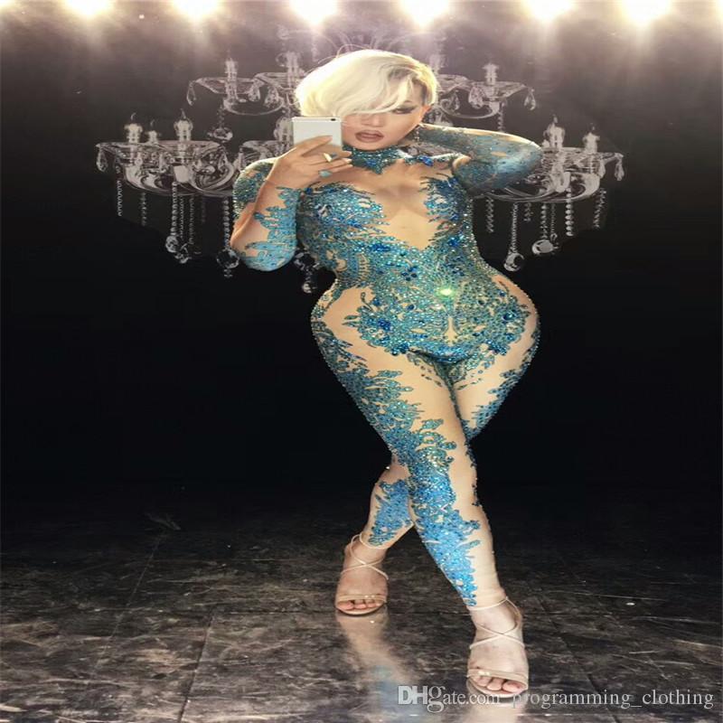 estágio F65 azul cor de dança de salão macacão sexy cantora usa diamantes bodysuit dj ds equipar trajes de desempenho modelo do clube vestido de festa dj