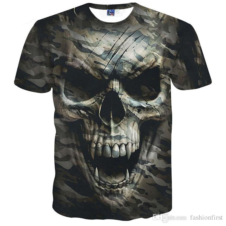 vente chaude t-shirts nouveaux t-shirts crâne mode homme top chemises Tees tops garçons hommes chemises t impression 3d crâne camo t-shirt