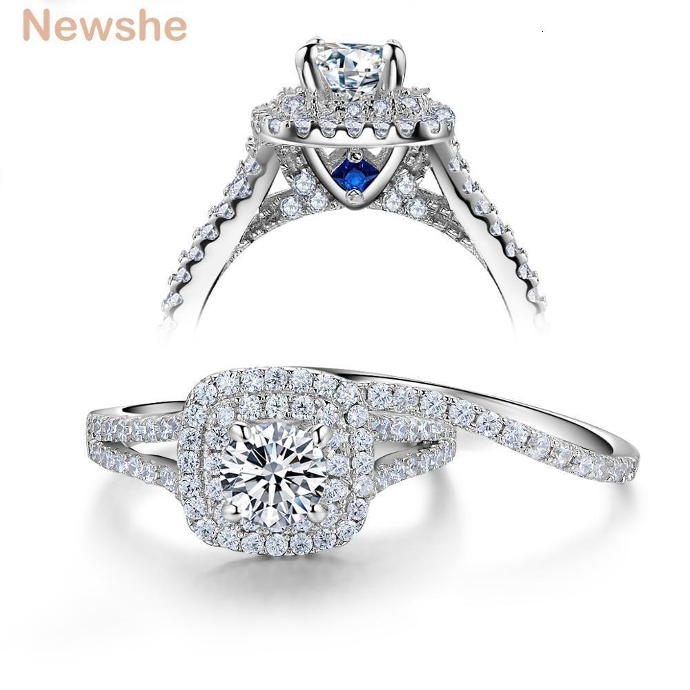 خاتم الزواج Newshe 2 قطعة الصلبة 925 فضة المرأة مجموعات فيكتوريا مجوهرات ستايل الأزرق الأحجار الجانبية كلاسيك للنساء Y1890705