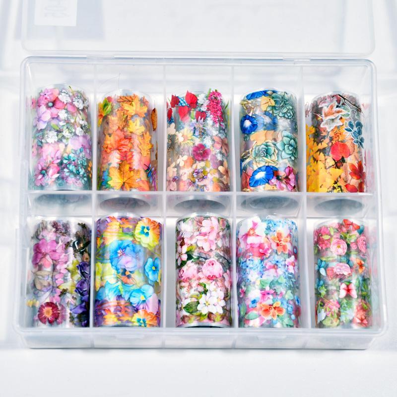 1box Nail Art Folhas de transferência etiqueta do prego Dica Decal Decoração Projeto DIY Borboleta polonesa adesivo autocolante decalques Foil M) 1