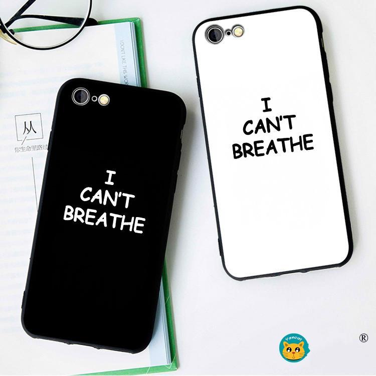 iphone Moda 11 Pro MAX 11 Pro / X 7P / 8P 6 / caso 11 XSMAX XR XS 6SP con la lettera motivo non riesco a respirare custodia morbida cellulare