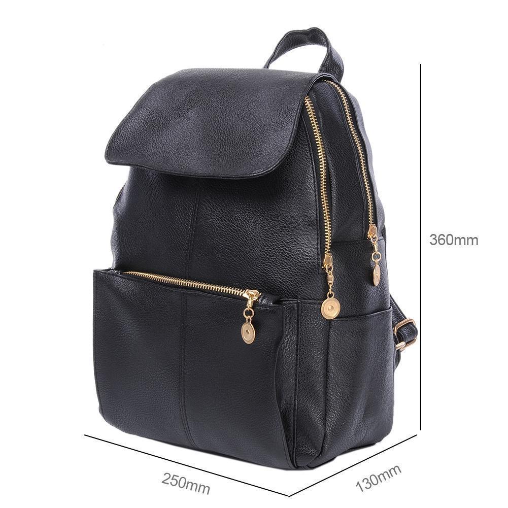 Großhandel Frauen Mädchen Rucksack Mode Kausal Einfache Schwarz Leder Handtasche Schüler Schule Rucksäcke Tasche Für Teenager Mädchen Rucksack Taschen