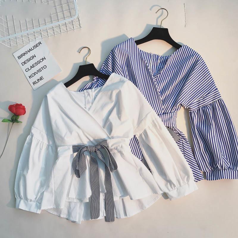 Las mujeres blusas de mujer Tops moda del resorte adelgazan las camisas de volantes de encaje de manga larga hasta la cintura ajustable Blusas cuello en V manga larga elegante 66619