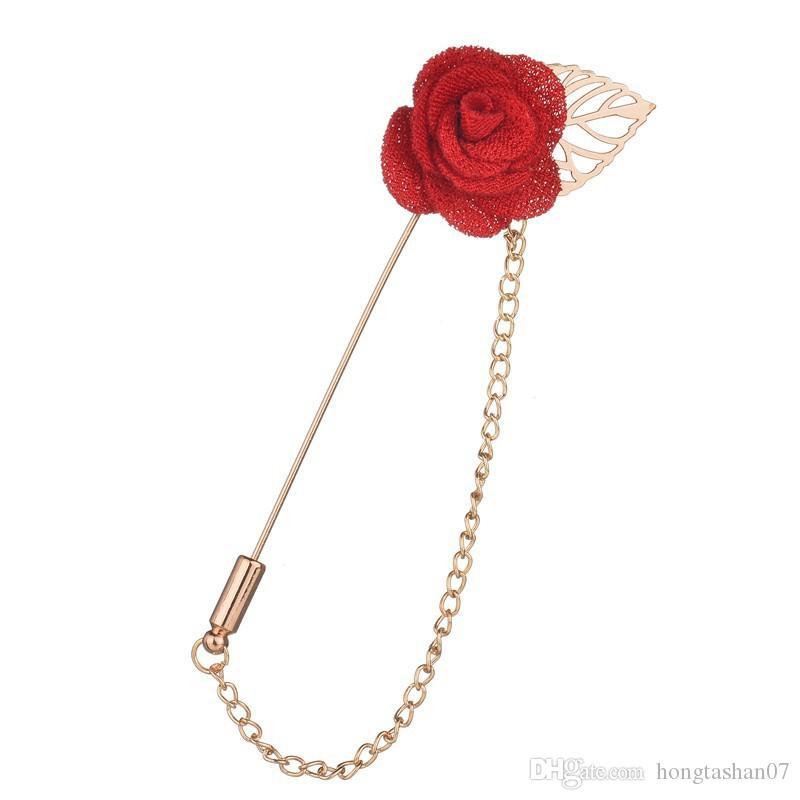 Yüksek Kaliteli El Yapımı Kumaş Çiçekler Kadınlar Için Altın Renk Püskül Zincir Yaka Pin Broşlar b212