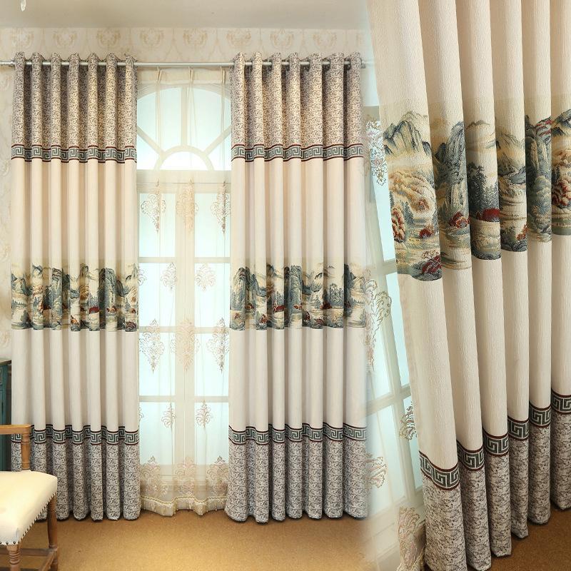 Nuevos modernas simples del estilo chino de algodón jacquard Cortinas para Living Comedor dormitorio.