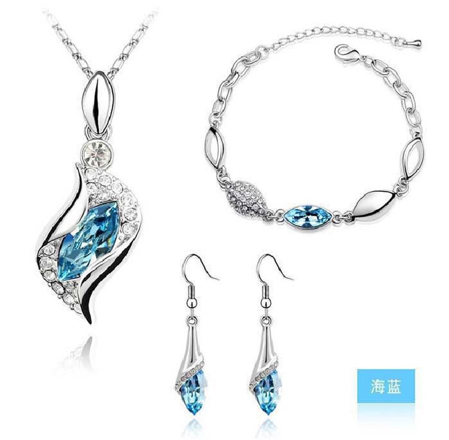 Neue Art und Weise Silber überzogene Kristallhalsketten-Armband-Ohrring-Schmucksets für Damen conjuntos de joyeria